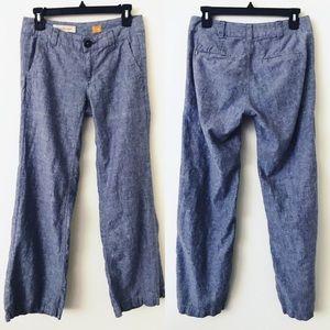 ANTHROPOLOGIE Blue Wide Leg Linen Blend Pants